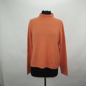 Orange Cashmere High Crew Neck Sweater L